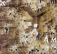 0103369 © Granger - Historical Picture ArchiveJAPAN: TOKYO FIRE, 1858.   Firefighters work to put out the devastating fire of 1858. Scroll painting, late 19th century.