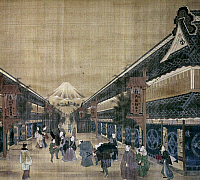 0103380 © Granger - Historical Picture ArchiveJAPAN: EDO, 19th CENTURY.   View of the Echigoya Drapers' Shop, Edo. Silk painting, early 19th century, by Yanagi Buncho II.