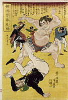 0103443 © Granger - Historical Picture ArchiveJAPAN: SUMO WRESTLING.   A Japanese sumo wrestler defeats a foreign opponent in Yokohama. Woodblock print, 1861, by Ipposai Hoto.