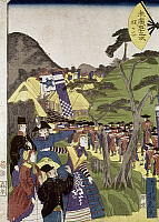 0103454 © Granger - Historical Picture ArchiveJAPAN: TOKUGAWA SOLDIERS.   Foreigners watch as soldiers of the Tokugawa Shogunate leave for an unsuccessful attack against forces of the daimyo of Chosu. Woodblock print, 1865, by Chokaro Hoki.
