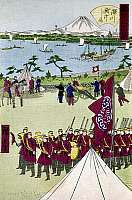 0103477 © Granger - Historical Picture ArchiveJAPAN: ETCHU, c1870.   Imperial soldiers training on the island of Etchu off the Fukagawa district, Tokyo, Japan. Woodblock print by Ando Hiroshige II or III, c1870.