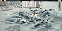 0103499 © Granger - Historical Picture ArchiveSINO-JAPANESE WAR, 1895.   Japanese Sergeant Kawasaki crossing the Taedong River on the Korean Peninsula in order to observe enemy movements during the Sino-Japanese War. Woodblock print, triptych, 1895, by Shogetsudo Matsunaga.