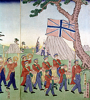 0103567 © Granger - Historical Picture ArchiveJAPAN: FOREIGN SOLDIERS.   Foreign soldiers in Yokohama. Woodblock print, 1866.