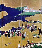 0118872 © Granger - Historical Picture ArchiveJAPAN: PORTUGUESE TRADERS.   Portuguese merchants arriving in Japan. Detail from an early 17th century screen by Kano Naizen.