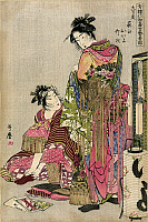 0167408 © Granger - Historical Picture ArchiveJAPAN: GEISHAS, 1785.   Two Japanese geishas getting dressed for a festival. Color woodcut by Utamaro Kitagawa, 1785.