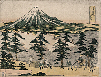 0259399 © Granger - Historical Picture ArchiveTOYOHIRO: YOSHIWARA.   Travelers on the Tokaido Road in Japan. Mount Fuji is in the background. Woodcut by Utagawa Toyohiro, early 19th century.