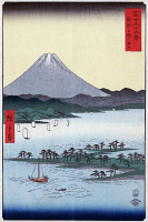 0259401 © Granger - Historical Picture ArchiveHIROSHIGE: SURUGA, c1850.   Pine groves and Mount Fuji on Miho Bay in Suruga Province, Japan. Woodcut by Ando Hiroshige, c1850.