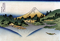 0259405 © Granger - Historical Picture ArchiveHOKUSAI: MOUNT FUJI.   Reflection of Mount Fuji in a lake in Misaka, Kai Province, Japan. Woodcut by Katsushika Hokusai, late 18th or early 19th century.