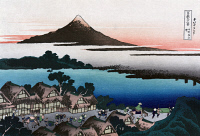 0259406 © Granger - Historical Picture ArchiveHOKUSAI: MOUNT FUJI.   View of a village near Mount Fuji in Japan. Woodcut by Katsushika Hokusai, late 18th or early 19th century.