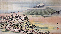 0259407 © Granger - Historical Picture ArchiveHIROSHIGE: MOUNT FUJI.   View of Mount Fuji in Japan. Painting on silk by Ando Hiroshige, early 19th century.