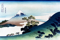 0259410 © Granger - Historical Picture ArchiveHOKUSAI: INUME PASS.   A view of Inume pass in the Kai province, Japan, with Mount Fuji in the background. Woodcut by Katsushika Hokusai, early 19th century.