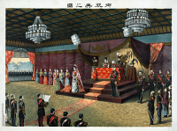 0622201 © Granger - Historical Picture ArchiveJAPAN: ROYAL WEDDING, 1900.   The wedding reception of Crown Prince Yoshihito (future Emperor Taisho) and Princess Kujo Sadako in May, 1900. Emperor Meiji and other members of the imperial family are present. Chromolithograph by Torajiro Kasai, 1900.