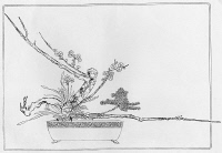 0635128 © Granger - Historical Picture ArchiveJAPAN: IKEBANA, c1940.   Example of the rikka style of ikebana, or flower arrangement, featuring a standing combination of camellia, pine, and plum. Drawing, reproduced c1940. Full Credit: Ullstein Bild / Granger. All Rights Reserved.