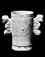 0078749 © Granger - Historical Picture ArchiveMAYAN JAGUAR VASE.   Calcite vase with Jaguar handles, from the Ulua Valley region of Honduras. Classic Period (mid-2nd century to early 10th century).