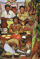 0007705 © Granger - Historical Picture ArchiveRIVERA: GRINDING CORN.   Detail from a mural by Diego Rivera showing Aztec women grinding corn and making tortillas from flour.