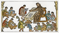 0009001 © Granger - Historical Picture ArchiveSPANISH MISSIONARY, 1612.   Francisco Pareja teaching Christianity to the native Indians. Woodcut from 'Cathecismo, en Lengua Castellana, y Timuquana', Mexico City, 1612.