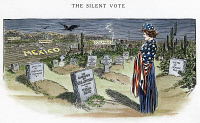 0041746 © Granger - Historical Picture ArchiveCARTOON: VILLA, 1916.   'The Silent Vote.' Cartoon commemorating the Americans who died in Pancho Villa's raid on Columbus, New Mexico of that year. Cartoon by Luther D. Bradley, 1916.