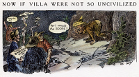 0041750 © Granger - Historical Picture ArchiveCARTOON: VILLA RAID, 1916.  Cartoon satirizing U.S. raid against Pancho Villa. Cartoon by Luther D. Bradley, 1916.