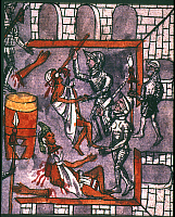 0042397 © Granger - Historical Picture ArchiveSPANISH CRUELTY, 1520.   Spanish soldiers killing unarmed followers of Montezuma at a religious festival in 1520. Codex Duran.