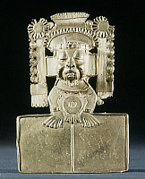 0103523 © Granger - Historical Picture ArchiveMIXTEC: XIPE TOTEC, c1000.   The skin of a sacrificed victim covers the face of Xipe Totec, the god of life-death-rebirth. Gold pendant made by the Mixtec culture, from Oaxaca, c1000. Height: 10 cm.