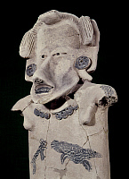 0103538 © Granger - Historical Picture ArchiveMEXICO: TOTONAC FIGURE.   Ceramic torso of a woman, decorated with two small animal paintings, made by the Totonac culture of Veracruz, Mexico, 200-500 A.D. Height: 49 cm.