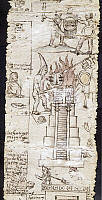 0103655 © Granger - Historical Picture ArchiveMEXICO: SPANISH CONQUEST.   An Aztec warrior and a Spanish conquistador fight as a temple burns. Drawing from an original codex fragment, c1550-60.