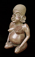 0104108 © Granger - Historical Picture ArchiveMEXICO: PREGNANT FIGURE.   Ceramic figure of a pregnant woman, from Nayarit Mexico, 300-500 A.D.