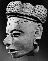 0128986 © Granger - Historical Picture ArchiveMEXICO: HEAD SCULPTURE.   Pre-Columbian Remojadas clay figure of a head, from Veracruz, Mexico, c300-900 A.D.