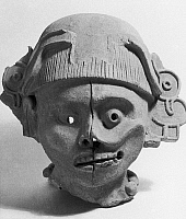0167457 © Granger - Historical Picture ArchiveOAXACA: LIFE AND DEATH.   A mask representing the duality between life and death. From Soyaltepec, Oaxaca, Mexico, 600-900 A.D.