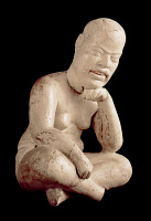 0168421 © Granger - Historical Picture ArchiveMEXICO: SEATED FIGURE.   Polished slipped pottery sculpture of a seated figure. From Las Bocas, Puebla, Mexico, 1150-550 B.C.