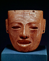 0168458 © Granger - Historical Picture ArchiveMEXICO: TEOTIHUACAN MASK.   Carved alabaster funerary mask from Teotihuacan, Mexico, 300-700 A.D.