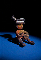 0168467 © Granger - Historical Picture ArchiveMEXICO: TEOTIHUACAN.   Clay figure of a seated man. From the La Ventilla district of Teotihuacan, Mexico, 250-375 A.D.