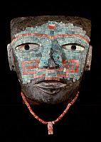0168469 © Granger - Historical Picture ArchiveMEXICO: FUNERARY MASK.   Funerary stone mask with an inlaid mosaic of turquoise, shell, coral and flint. By the Teotihuacan culture from the state of Guerrero, Mexico, 400-600 A.D.