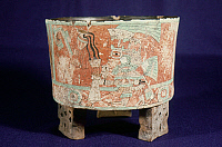 0168470 © Granger - Historical Picture ArchiveMEXICO: TEOTIHUACAN VASE.   Tripod vessel decorated with a frescoed scene of a priest in ceremonial dress making an offering to the gods. From Teotihuacan, Mexico, 5th-8th century A.D.