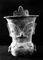 0168487 © Granger - Historical Picture ArchiveMEXICO: TEOTIHUACAN VASE.   Ceramic vase with a face. From Teotihuacan, Mexico, 2nd century B.C. - 8th century A.D.