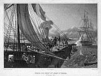 0268776 © Granger - Historical Picture ArchivePASTRY WAR, 1838.   The capture of Fort San Juan de Ulua at Veracruz, Mexico, during the Pastry War between France and Mexico in 1838. Engraving after a painting by Horace Vernet, 1841.