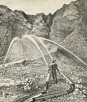 0368601 © Granger - Historical Picture ArchiveHISTORY.   A Californian miner washing ore using the hydraulic method, engraving from the White conquest, by William Hepworth Dixon (1821-1879). North America,19th century. Full Credit: De Agostini Picture Library / Granger, NYC -- All righ