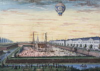 0368695 © Granger - Historical Picture ArchiveHISTORY.   Launch of a hot air balloon in the neighborhood of Finkmatt in Strasbourg, 1784, painting by Christian Ensel, France, 18th century. Full Credit: De Agostini / G. Dagli Orti / Granger, NYC -- All rights reserved.