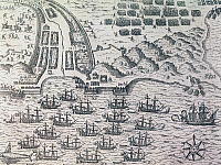 0368744 © Granger - Historical Picture ArchiveHISTORY.   The siege and capture of Santiago, in the Cape Verde archipelago, by Francis Drake (1540-1596) in 1585, engraving from American History by Theodore de Bry (1528-1598), published in Frankfurt,1602. Full Credit: De Agostini / A. Dagli Orti / Granger, NYC -- All rights reserved.