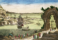 0368775 © Granger - Historical Picture ArchiveHISTORY.   The French landing to commence the foundation of their new colony, French Guiana, 1762, colour engraving . South America, 19th century. Full Credit: De Agostini / M. Seemuller / Granger, NYC -- All rights reserved.
