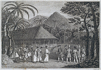 0368777 © Granger - Historical Picture ArchiveHISTORY.   Samuel Wallis meeting Queen Oberea in Tahiti, Society Islands, 1767, engraving from An account of the voyage round the world in the years between 1766 and 1768, by Samuel Wallis (1728-1795). Polynesia, 18th century. Full Credit: De Agostini Picture Library / Granger, NYC -- All rights res