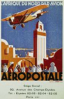0368794 © Granger - Historical Picture ArchiveHISTORY.   Aeropostale (airmail), air links with North Africa, billboard, France, 20th century. Full Credit: De Agostini Picture Library / Granger, NYC -- All rights reserved.