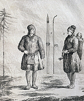 0368821 © Granger - Historical Picture ArchiveHISTORY.   Natives with a pair of skis, engraving from Journey in the North Sea completed between 1767 and 1768 by Yves Joseph Christophe de Kerguelen-Tremarec (1734-1797). 18th century. Full Credit: De Agostini Picture Library / Granger, NYC -- All Rights Reserved.