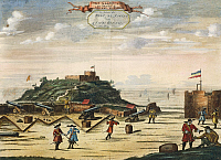 0368830 © Granger - Historical Picture ArchiveHISTORY.   The Dutch Fort of Nassau on the island of Goree, Senegal, engraving. Africa, 17th century. Full Credit: De Agostini / M. Seemuller / Granger, NYC -- All rights reserved.