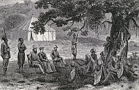 0368846 © Granger - Historical Picture ArchiveHISTORY.   Samuel White Baker (1821-1893) and his wife being received by the head of Faieera, Rot Jarma, engraving from Ismailia, from a narrative of the expedition to Central Africa for the suppression of the slave trade, by Samuel White Baker (1821-1893 ), 1874. Africa, 19th century. Full Credit: De Agostini Picture Library / Granger, NYC -- All rights res