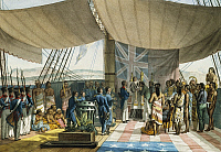 0368859 © Granger - Historical Picture ArchiveHISTORY.   Baptism of Kalanimoku aboard the Uranie, August 12, 1819, Sandwich Islands, now Hawaii, watercolour from Journey around the world, 1817-1820, by Louis de Freycinet (1779-1842). Polynesia, 19th century. Full Credit: De Agostini / G. Dagli Orti / Granger, NYC -- All rights reserved.