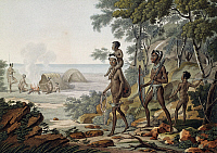 0368862 © Granger - Historical Picture ArchiveHISTORY.   Aboriginal Family, Port Jackson, now Sydney, engraving from Journey around the world, 1817-1820, by Louis de Freycinet (1779-1842). Australia, 19th century. Full Credit: De Agostini / G. Dagli Orti / Granger, NYC -- All rights re