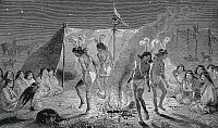 0368985 © Granger - Historical Picture ArchiveHISTORY.   Tehuelche Indian ceremonial puberty dance, engraving from At home with the Patagonians, by George Chaworth Musters (1841-1879), 1871. South America, 19th century. Full Credit: De Agostini Picture Library / Granger, NYC -- All rig