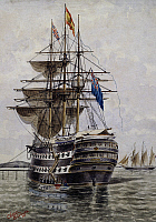 0369073 © Granger - Historical Picture ArchiveHISTORY.   Arrival on board the ship the Foudroyant of the Committee of the junta of Buenos Aires, November 1811, watercolour by Cesar Silveira, Argentina, 19th century. Full Credit: De Agostini / G. Dagli Orti / Granger, NYC -- All rights