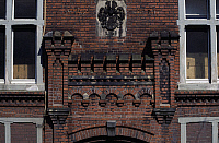0369127 © Granger - Historical Picture ArchiveHISTORY.   Decorative frieze on the facade of the Fowein textile factory, Wuppertal-Elberfeld, North Rhine-Westphalia, Germany. Full Credit: De Agostini / S. Vannini / Granger, NYC -- All Rights Reserved.